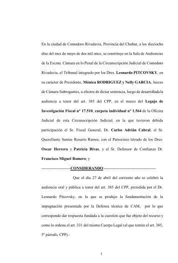 En la ciudad de Comodoro Rivadavia, Provincia del Chubut, a un ...