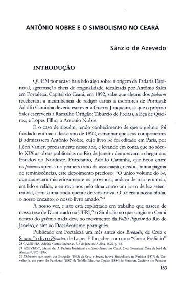 Antônio Nobre e o Simbolismo no Ceará - SÂNZIO DE