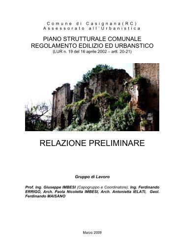 RELAZIONE PRELIMINARE - Comune di Casignana