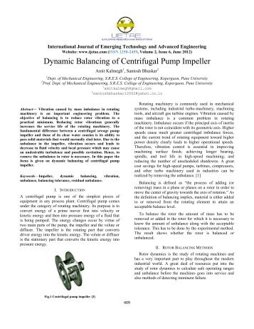 Dynamic Balancing of Centrifugal Pump Impeller - International ...