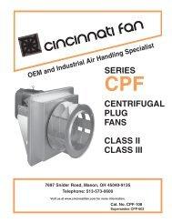 SERIES CENTRIFUGAL PLUG FANS CLASS II ... - Cincinnati Fan