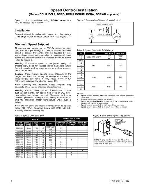 Speed Control Installatio | Twin City Fan Wiring Diagram |  | Yumpu