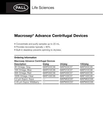 PII: Macrosep® Advance Centrifugal Devices - Pall Corporation