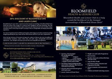 Leisure Brochure - Bloomfield House Hotel, Mullingar