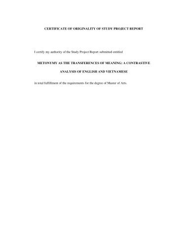 CERTIFICATE OF ORIGINALITY OF STUDY PROJECT REPORT I ...