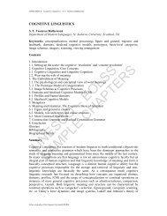 Cognitive Linguistics - eolss
