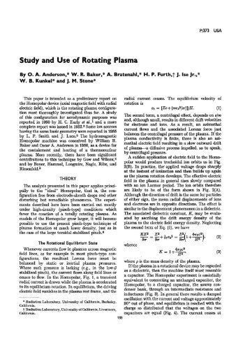 Study and Use of Rotating Plasma - Nuclear Sciences and ...