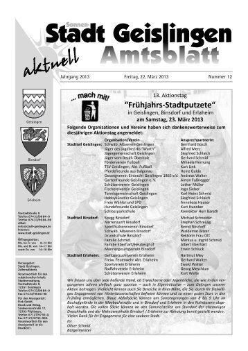 Amtsblatt Geislingen KW12 - Stadt Geislingen