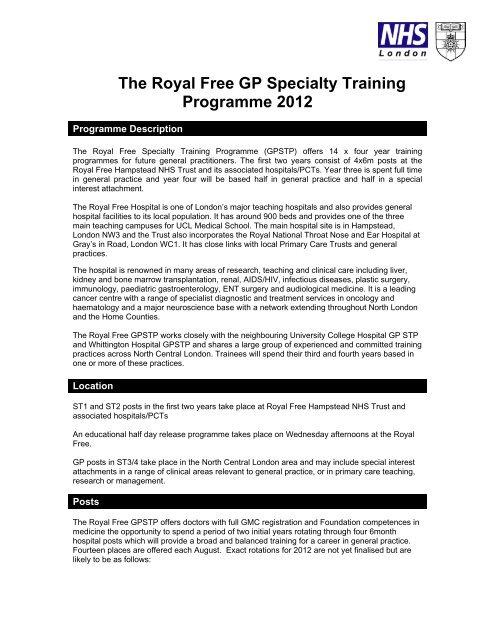 Bloomsbury/Royal Free GP Training Scheme - London Deanery