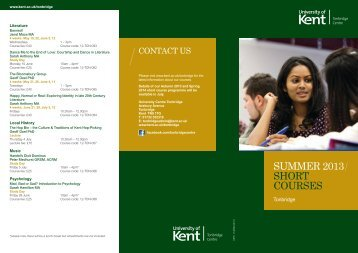 SUMMER 2013 SHORT COURSES - University of Kent