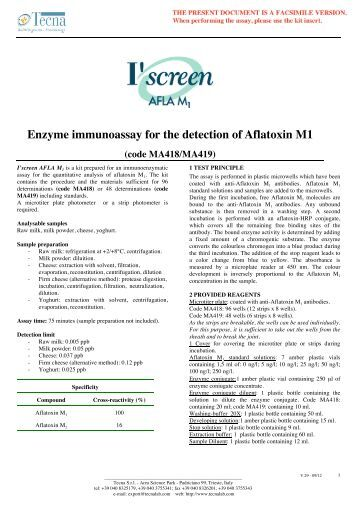 Enzyme immunoassay for the detection of Aflatoxin M1 - fotometric ...