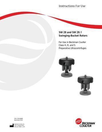 SW 28 &28.1 Ti Rotor Manual - Beckman Coulter