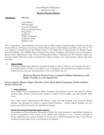 Minutes from the March 15, 2011 Meeting of the Board of Education