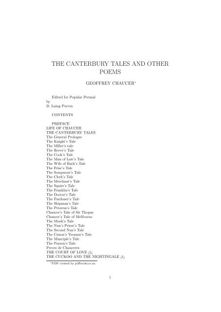 THE CANTERBURY TALES AND OTHER POEMS - PDFbooks co za