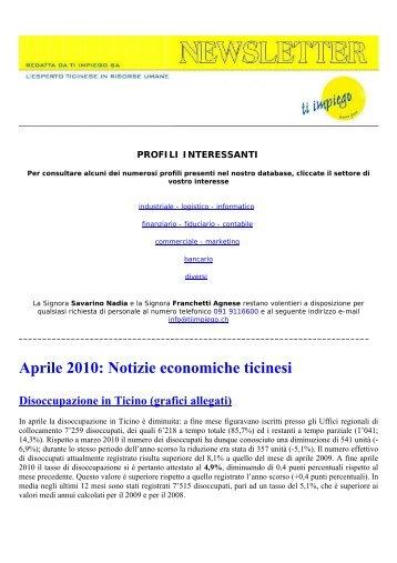 Aprile 2010: Notizie economiche ticinesi - Ti impiego