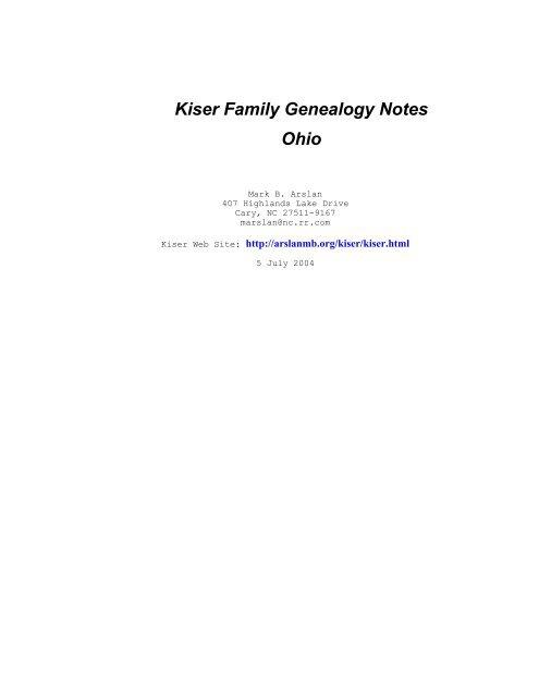 Kiser Family Genealogy Notes Ohio Arslanmb Org