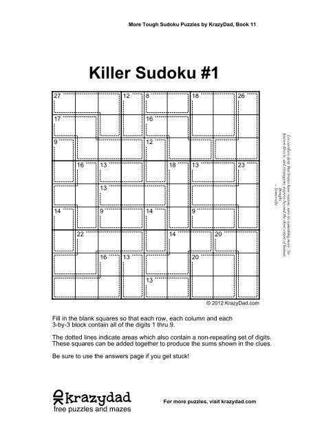 Tough Killer Sudoku, Volume 2, Book 11 - KrazyDad