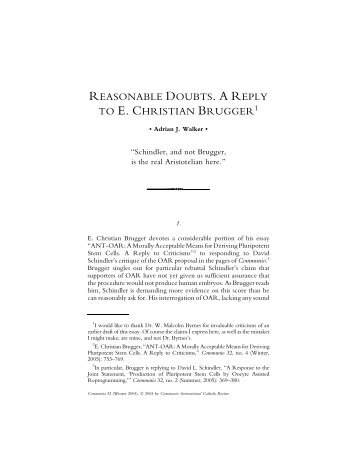 Reasonable Doubts. A Reply to E. Christian Brugger - Communio