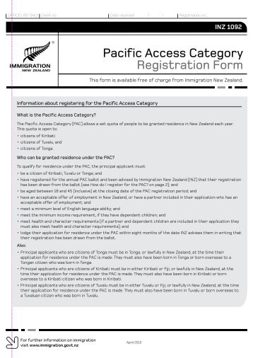 Pacific Access Category Registration Form - Immigration New Zealand