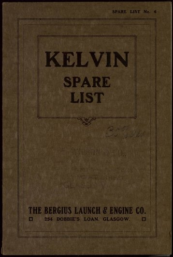 kelvin spare list fyfe, wilson & co.