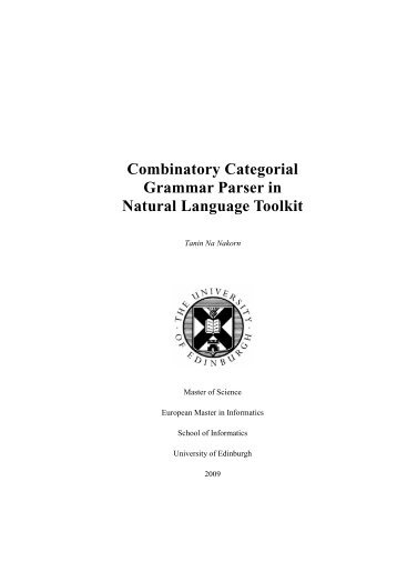 Combinatory Categorial Grammar Parser in Natural Language Toolkit