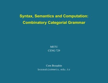Combinatory Categorial Grammar
