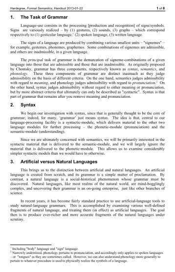 Categorial Grammar – Syntax