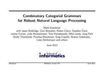 Combinatory Categorial Grammars for Robust Natural Language ...