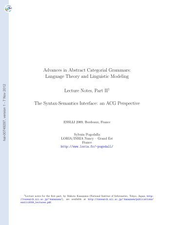 Advances in Abstract Categorial Grammars: Language Theory and ...