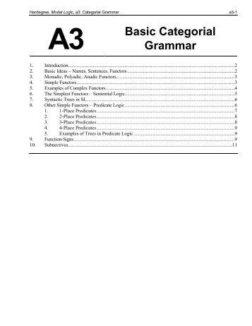 A3 Basic Categorial Grammar