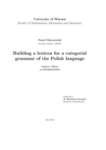 Building a lexicon for a categorial grammar of the Polish language