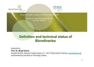Definition and technical status of Biorefineries - Biorefinery