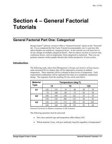 General Factorial Tutorials - Statease.info