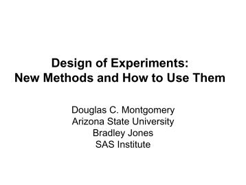 Design of Experiments - US Army Conference on Applied Statistics