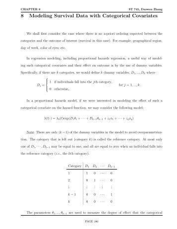 8 Modeling Survival Data with Categorical ... - NCSU Statistics