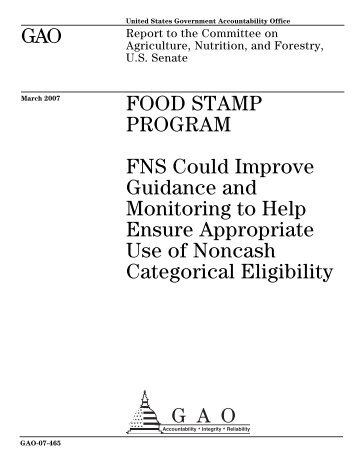 GAO-07-465 Food Stamp Program - US Government Accountability ...