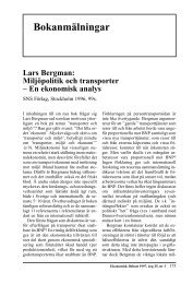 Lars Bergman: Miljöpolitik och transporter - En ... - Ekonomisk Debatt
