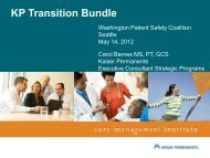 Kaiser Permanente Transition Bundle - Washington Patient Safety ...