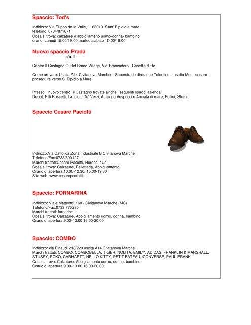 huge discount a64aa bc0ec Spaccio Cesare Paciotti - Hotel Ritz Giulianova