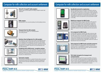 Computer for milk collection and account settlement ... - Poul Tarp A/S