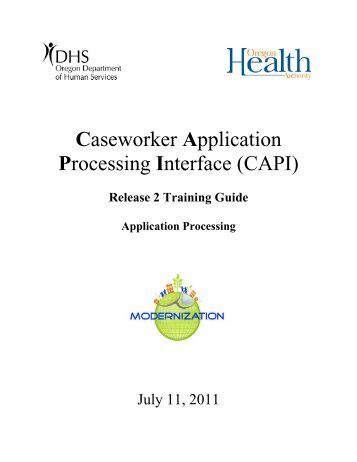 CAPI Caseworker Training Guide - DHS home