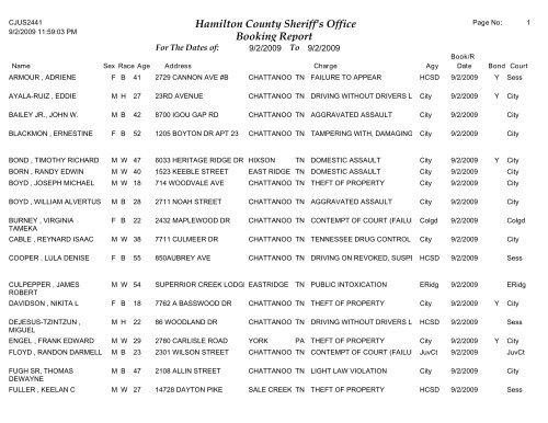Hamilton County Booking Report
