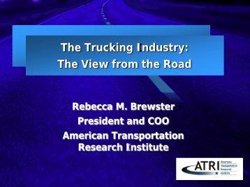 Rebecca M. Brewster – The Trucking Industry - SSTI