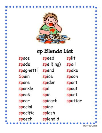 consonant blends word list pdf