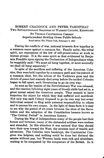 Robert Craddock and Peter Tardiveau - The Filson Historical Society