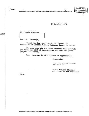 LETTER TO MR. RANDY PHILLIPS FROM ANGUS ... - CIA FOIA