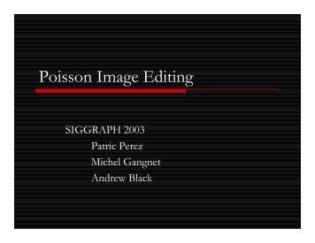 Poisson Image Editing - UNC Computer Science