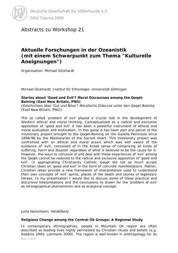 Deutsche Gesellschaft für Völkerkunde e.V. - DGV-Tagung 2009 ...