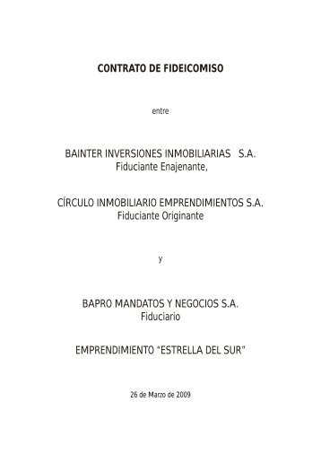 CONTRATO DE FIDEICOMISO BAINTER INVERSIONES ...