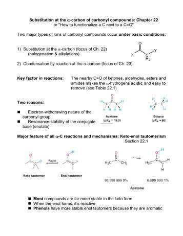 carbon of carbonyl compounds - Faculty Pages